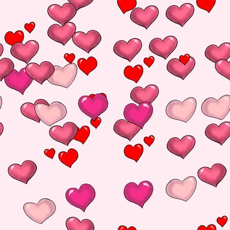 seamless pattern different hearts flying on a pink background Фото со стока