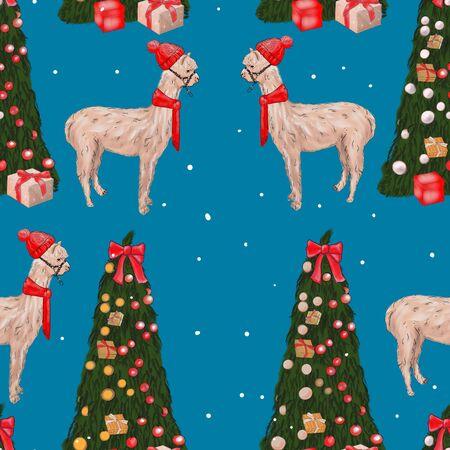 Seamless Christmas tree and llama pattern