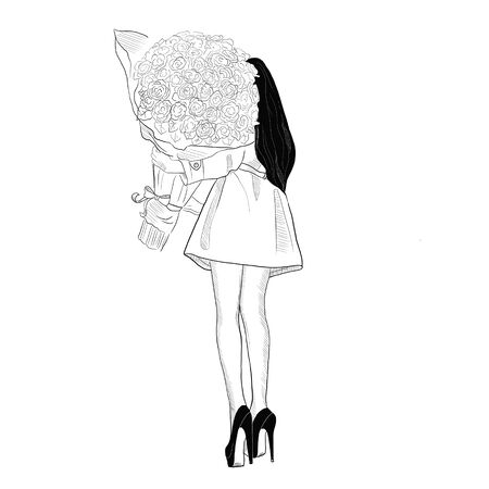 Illustration, coloring, beautiful girl holding a bouquet of roses in her hands Фото со стока - 134401989