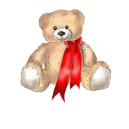 Illustration of a teddy bear with a red bow. Valentines Day. Фото со стока