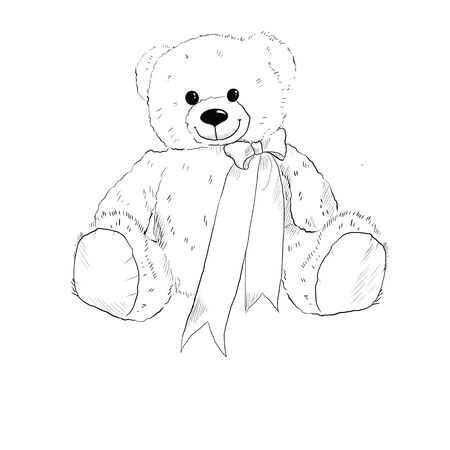 Black and white illustration of a teddy bear with a bow.