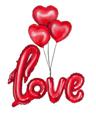 Red heart-shaped balloons and the inscription love balloons. Illustration for Valentines Day posters, badges, Valentines Day greeting cards, Valentines Day prints and web projects. Фото со стока