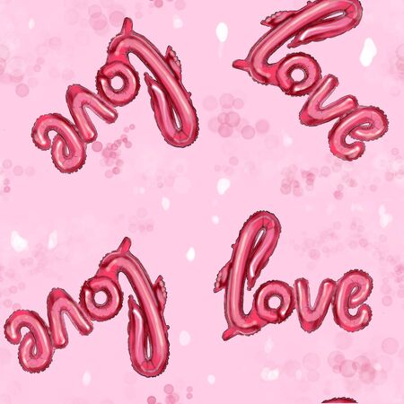 Seamless pattern of balloons with the inscription love.