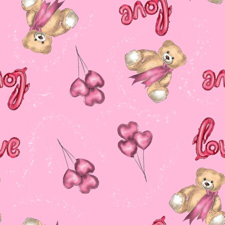 Seamless pattern teddy bear and heart shaped balloons.