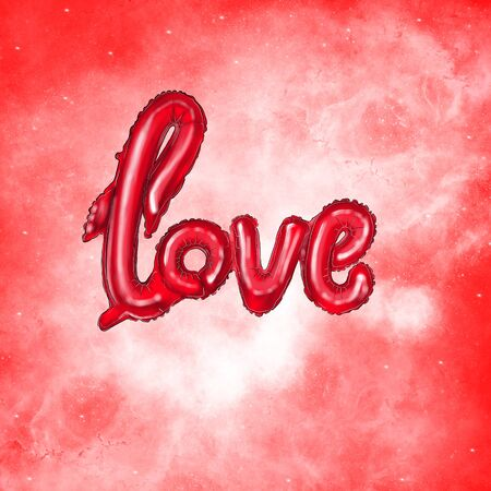 Red heart-shaped balloons and the inscription love balloons. Illustration for Valentines Day posters, badges, Valentines Day greeting cards, Valentines Day prints and web projects. Фото со стока - 137887217