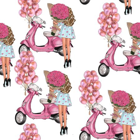Seamless pattern girl with a bouquet of roses and a scooter.