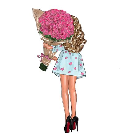 Illustration of a girl with a bouquet of red roses on a white background. Фото со стока - 135132537