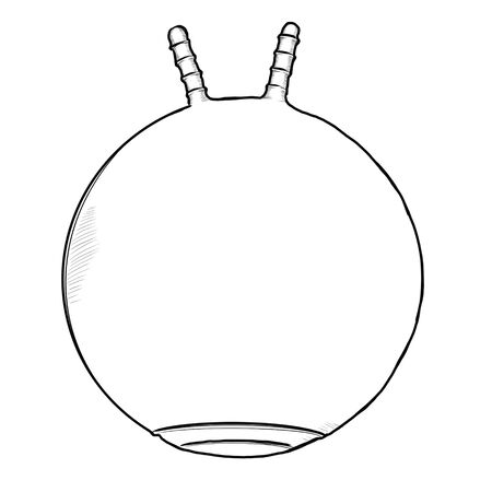 Black and white drawing of a fitness ball on a white background. Фото со стока