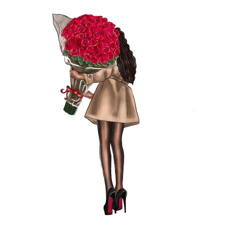 Illustration of a girl with a bouquet of red roses on a white background. Фото со стока