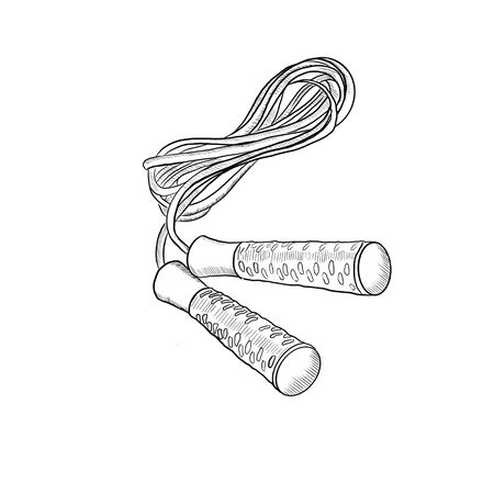 Black and white drawing of a jump rope for fitness. Фото со стока - 137945470