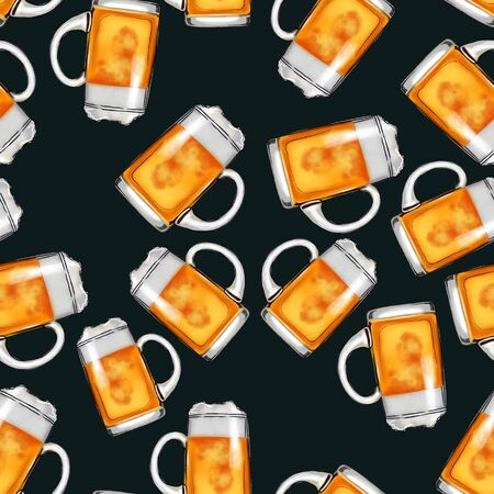 Seamless pattern mugs with beer on a black background.