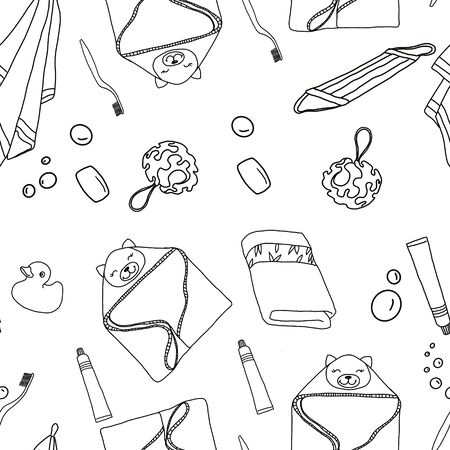 Black and white seamless pattern of bathroom accessories. Фото со стока