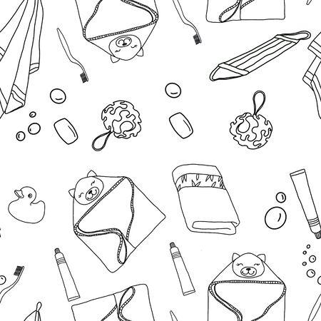 Black and white seamless pattern of bathroom accessories. Zdjęcie Seryjne