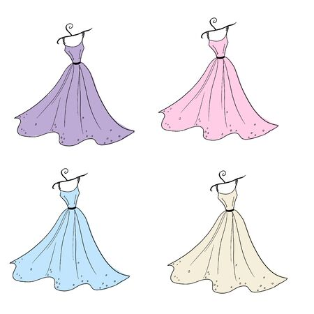 Illustration of a dress of different colors on hangers.