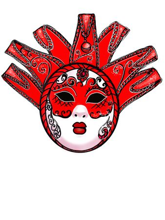 Illustration of a carnival mask on a white background. Фото со стока - 138258325