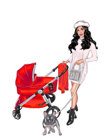 illustration of mom with a red stroller Фото со стока - 138037155