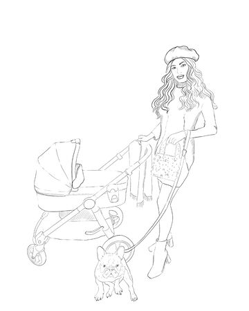 Continuous line drawing. One line. Woman with toddler in a stroller hand-drawn painting. Line art. Mom with a child for a walk. People in the park. sketch