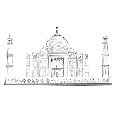Black and white illustration of Taj Mahal Фото со стока