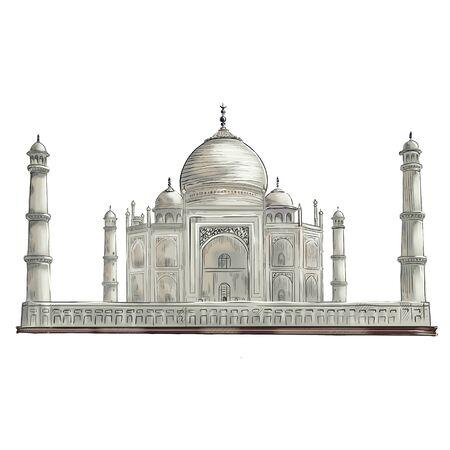 Illustration of the Taj Mahal on a white background Фото со стока - 138037410