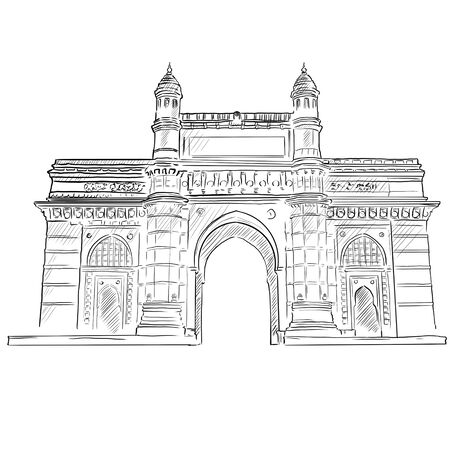 Mumbai Skyline with Gray Landmarks, Business Travel and Tourism Concept with Historic Buildings. Image for presentation.