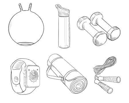 Fitness attributes set. Black and white illustration. Фото со стока