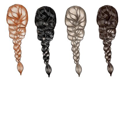 A set of hairstyles from hair of different colors