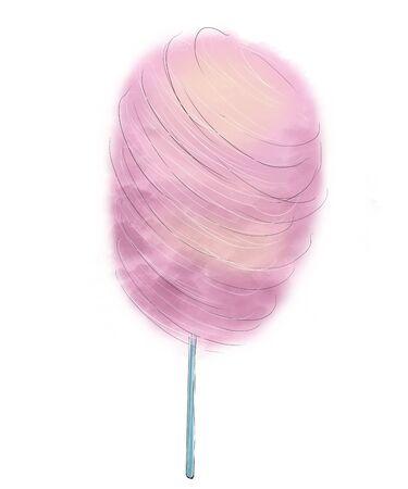 Pink cotton candy on wooden stick Фото со стока - 138037555