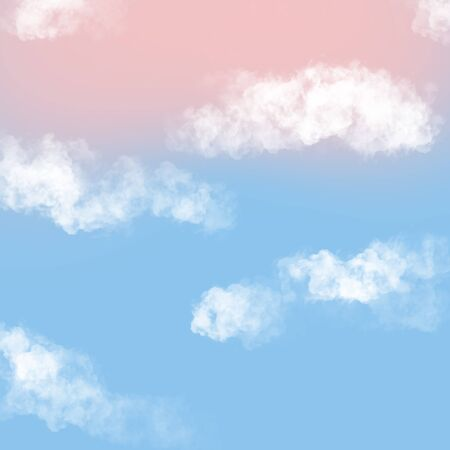 Illustration of blue sky with clouds Фото со стока - 138037306