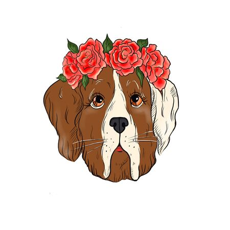 Illustration of a dog with a wreath of roses on his head. Фото со стока