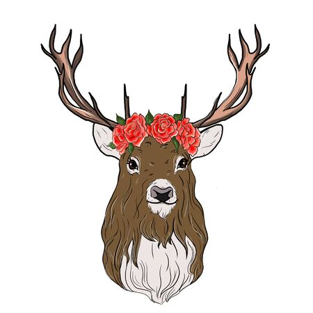 Deer watercolor. Eco style hipster illustration. Фото со стока