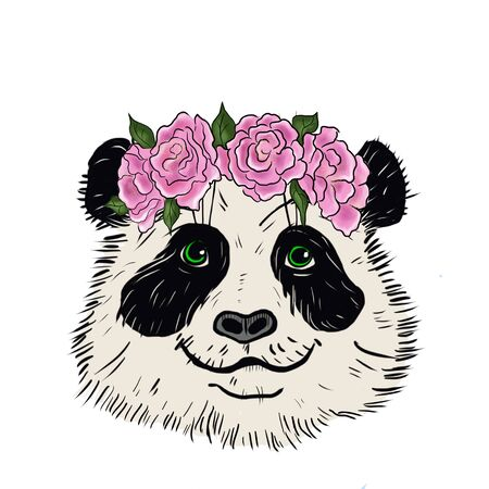 Illustration of a panda bear with a wreath of roses on her head.