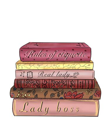 Illustration of a stack of books for girls. Фото со стока