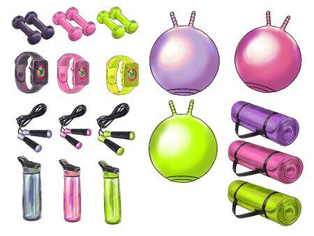 Illustration set of fitness accessories. Фото со стока