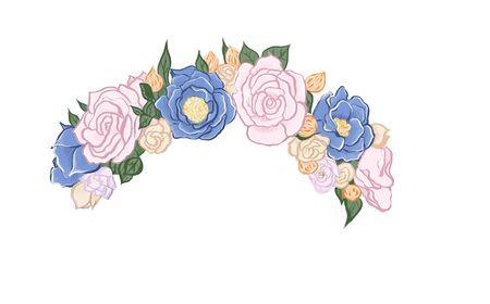 illustration of a wreath of flowers on her head.