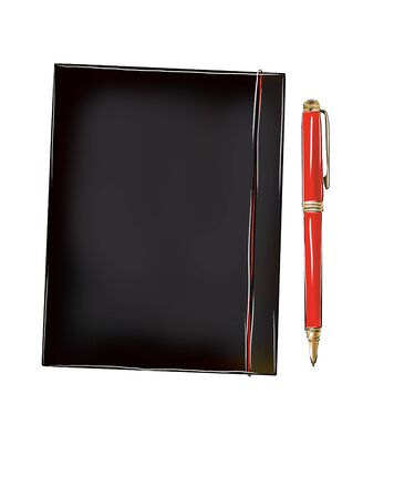 red notepad on a dark background Фото со стока - 137775004