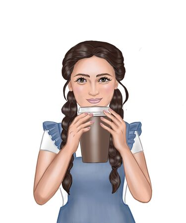 Pretty cute brown-haired smiling girl holding a paper coffee cup template isolated