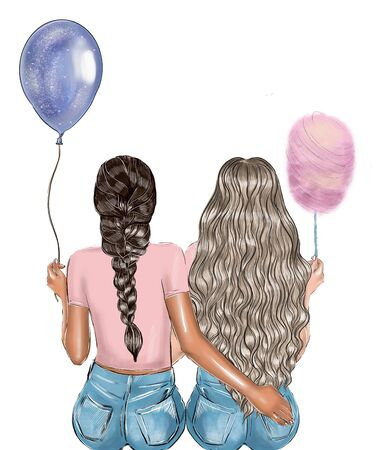 Couple of girls sitting on a bench and hugging. Back view. Cartoon. Фото со стока - 137791538