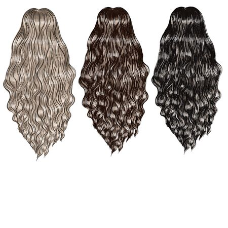 set of hair of different colors long curly hair
