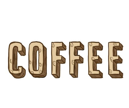 The inscription Coffee, isolated on a white background, the word written by coffee beans Фото со стока