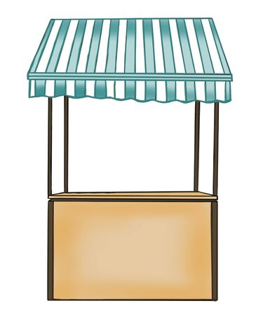 Bar counter with chair thin line icon. Mobile coffee shop, bar, shop. Фото со стока