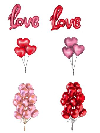 watercolor illustration, cute pink air balloons, Valentines day clip art, birthday gift, design elements isolated on white background Фото со стока