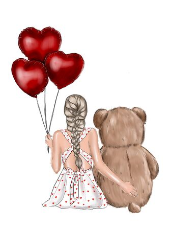 Illustration of romantic love. Girl holding a big red heart on a sky background with clouds of hearts shape. First love concept. Design element for banner, poster, postcard.