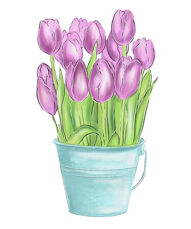 Bright pink tulips with green leaves in blue bucket. Cute spring bouquet. Floral composition.