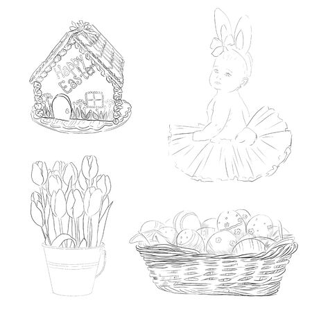Set, collection of black and white easter illustrations, hand drawn isolated on a white background