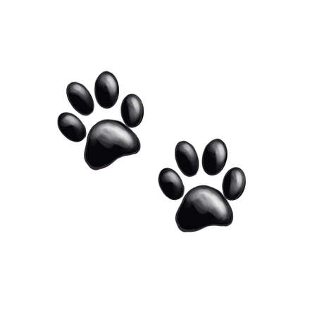 Dog or cat paw print graphic illustration. Cute animal element for decoration, design, craft projects, scrapbooking, pet tags. Hand drawn watercolor drawing on white background, isolated clip art.