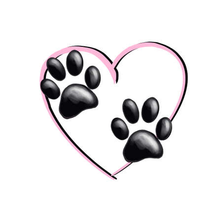 Isolated paws on pink heart background. Good for textile, fabric, zoo shops advertising, wrapping paper. Cute dog and cat paw illustration. Love pet.