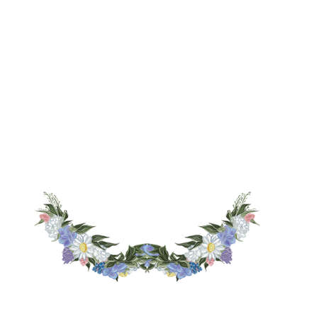 Watercolor flower wreath background for beautiful design,