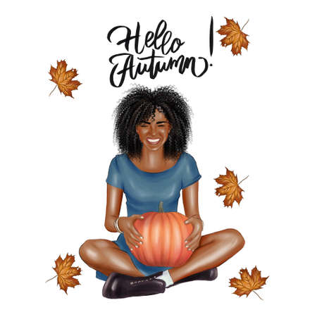 Portrait of a beautiful cheerful woman with a pumpkin on a white background, with the inscription