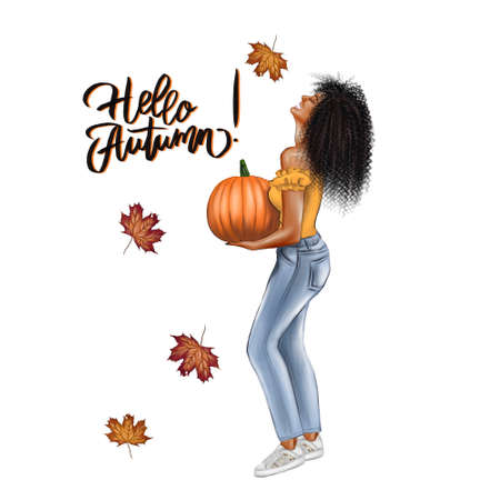 A girl with long hair holds a pumpkin in her hands. Halloween autumn holiday. Illustrations for a postcard or poster, print. Fashion and style, clothing and accessories