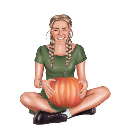 Portrait of beautiful cheerful woman with pumpkin over white background celebrating happy Thanksgiving day.